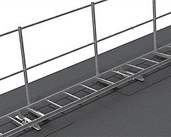 Guardrail for roof ladder